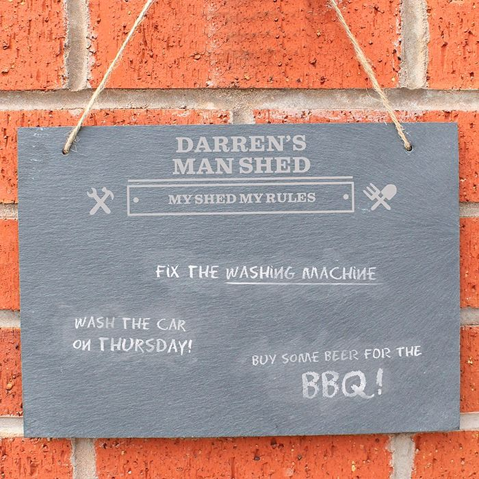 Man At Work Hanging Slate Sign