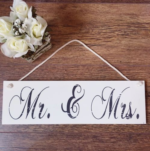 Mr & Mrs Hanging Wooden Signs