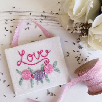 "Mini ""LOVE"" Embroidered Wall Sign"