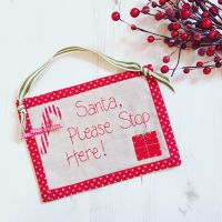 Santa Please Stop Here Hand Made Hanging Sign