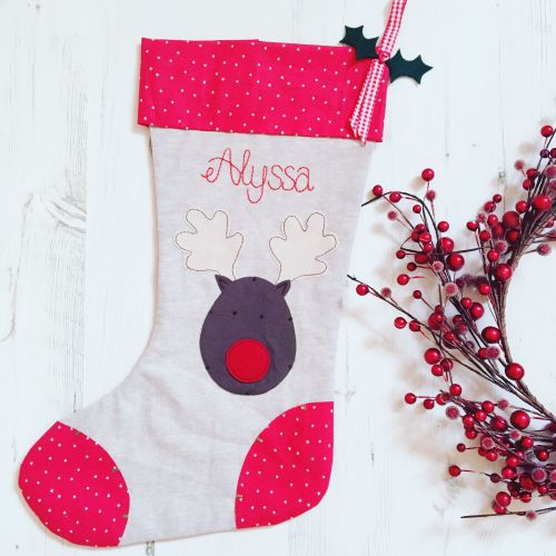 Luxury Reindeer Christmas Stocking