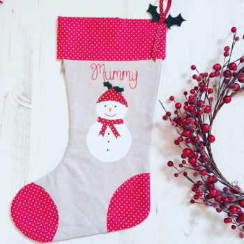 Luxury Snowman Christmas Stocking