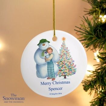 The Snowman and the Snowdog Friends Round Ceramic Decoration