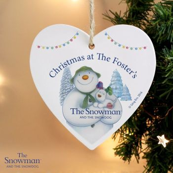 The Snowman and the Snowdog Heart Decoration