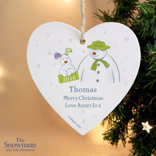 The Snowman and the Snowdog My 1st Christmas Heart Decoration