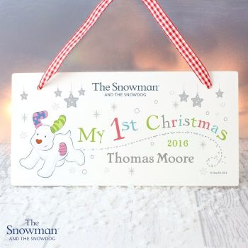 The Snowman and the Snowdog My 1st Christmas Wooden Sign