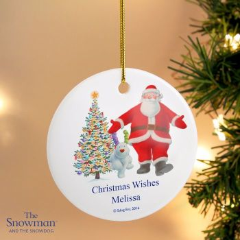 The Snowman and the Snowdog Father Christmas Round Ceramic Decoration