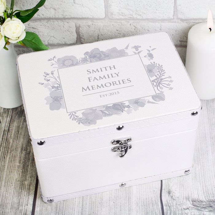 Personalised Soft Watercolour White Keepsake Box