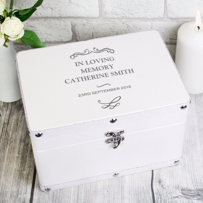 Personalised Antique Scroll White Keepsake Box