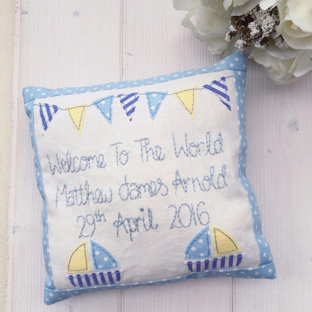 Boys Birth Announcement Cushions