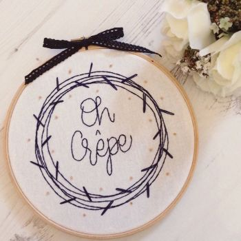 Midnight Blue Wreath Embroidery Hoop