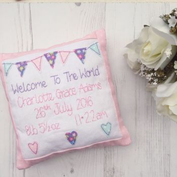 Girls Birth Announcement Cushions