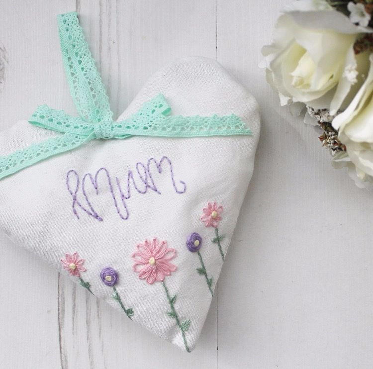 Hand sewn Mothers Day large heart