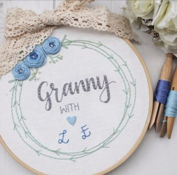Bespoke Trio Floral Wreath Embroidery Hoop