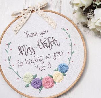 Bespoke Half Floral Wreath Embroidery Hoop