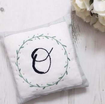 Wreath Border Initial Keepsake Cushion