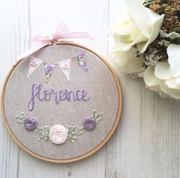 "Personalised Floral 6"" Embroidery Hoop"
