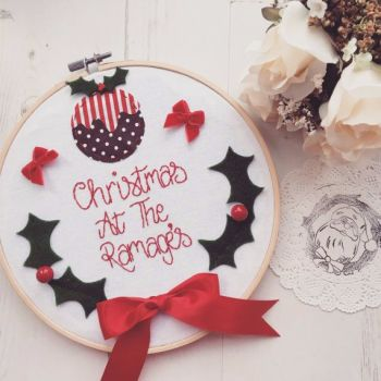 Christmas At The...Handmade Embroidery Hoop