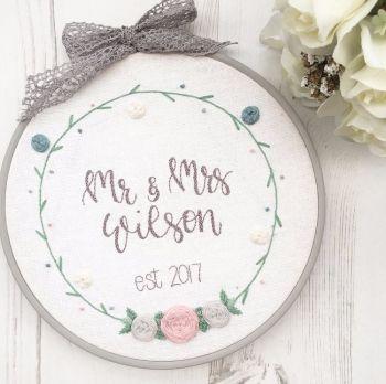Bespoke Floral Wreath Embroidery Hoop
