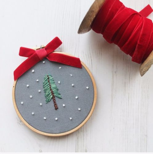 Mini Christmas Tree Embroidery Hoop
