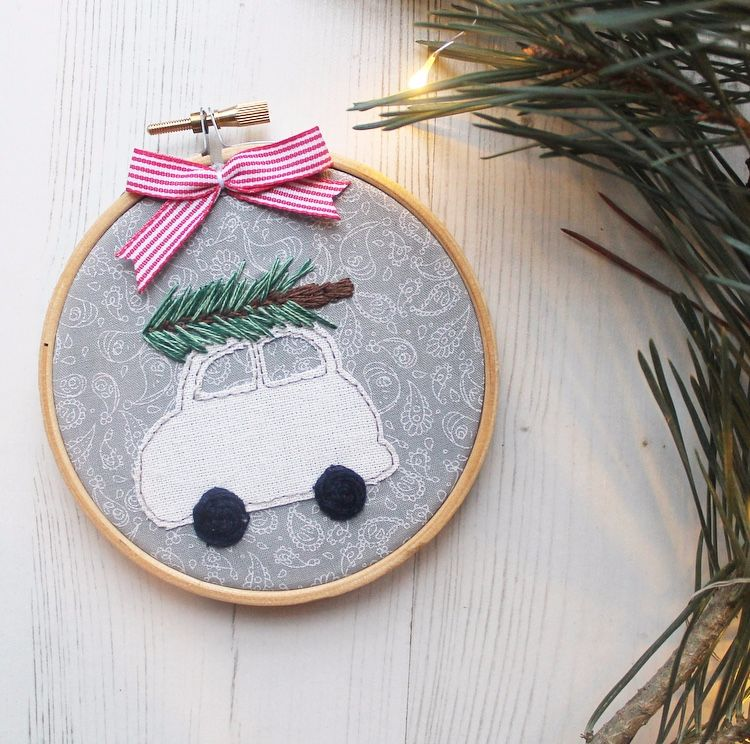 Whimsical White Christmas Car with Embroidered Christmas Tree
