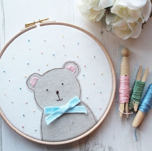 Mr Bear Applique Hoop with French Knots