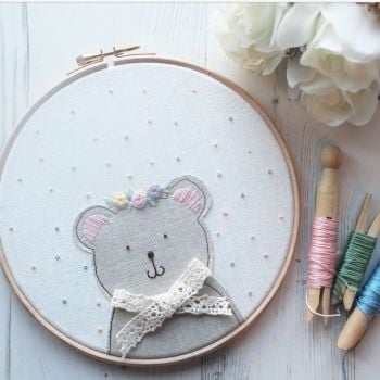 Ms Bear Applique Hoop with Floral Crown
