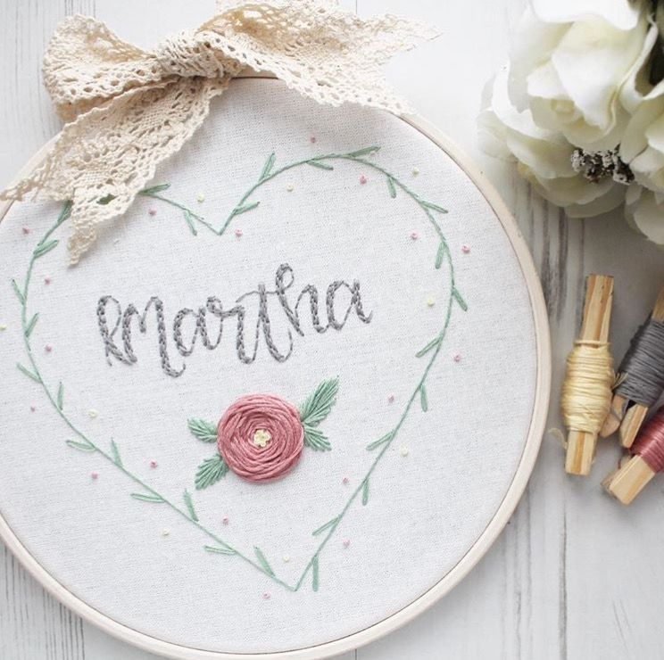 Bespoke Wreath Heart Embroidery Hoop With Flower