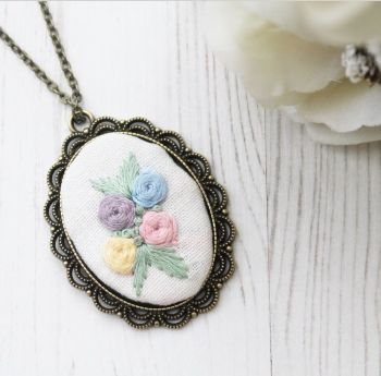 Spring Embroidery Bronze Pendant