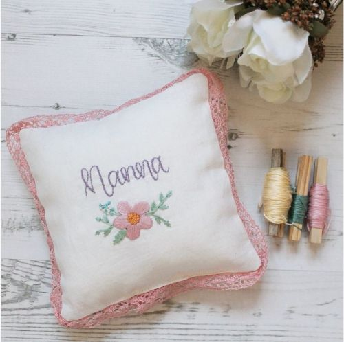 Mother's Day Embroidery Keepsake Cushion with Lace Frill
