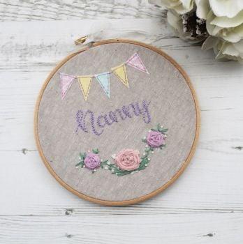 """Personalised Floral 6"""" Embroidery Hoop"""