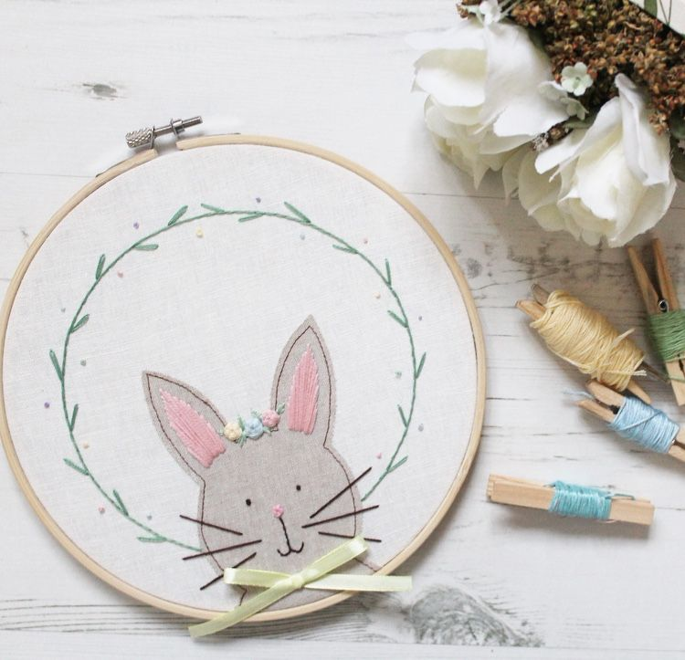Bunny Applique Embroidery Hoop with Floral Crown