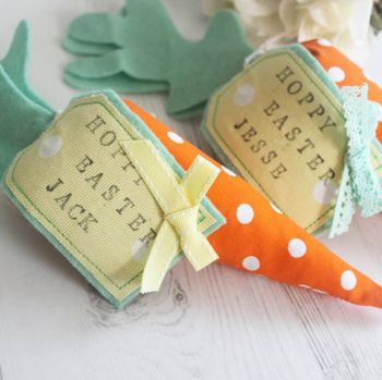 Individual Fabric Carrot with Rustic Gift Tag