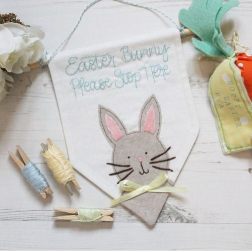 Easter Bunny Embroidered Banner