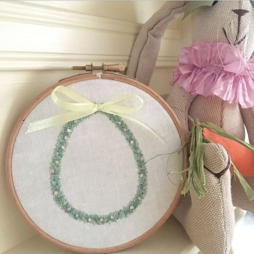 Small Hand Embroidered Easter Wreath Hoop