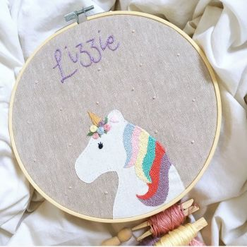 Custom Unicorn Embroidery Hoop