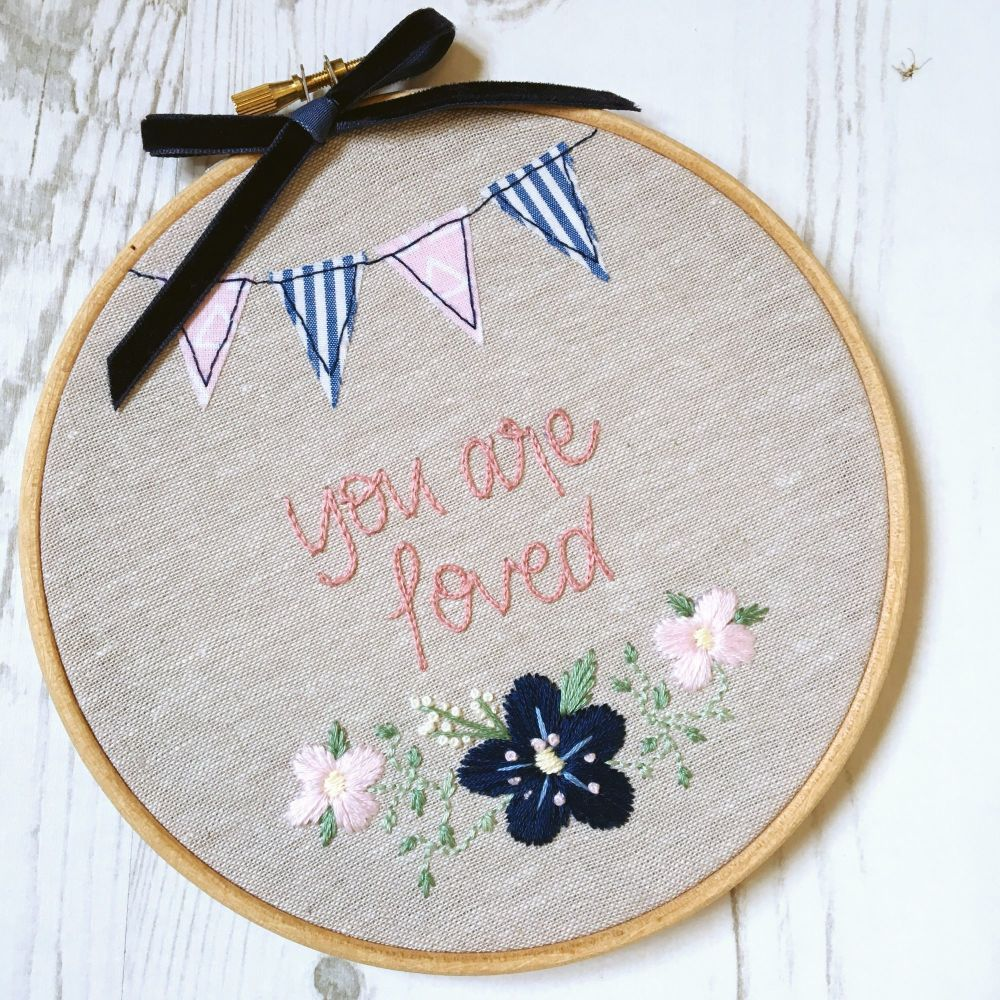 You are Loved Embroidered Pansy Hoop