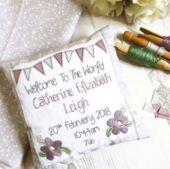 Girls Birth Announcement Cushions