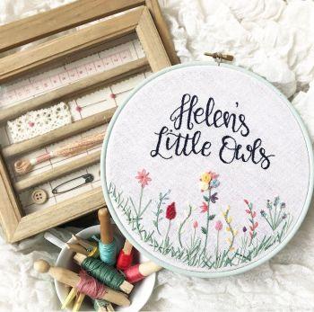 """Bespoke 8"""" Wildflowers Embroidery Hoop"""