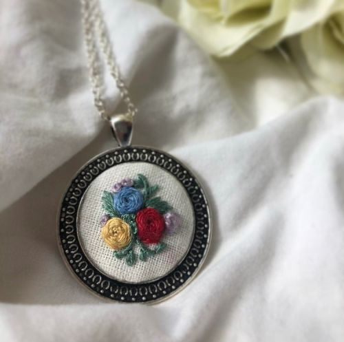 Embroidered Large Silver Round Pendant