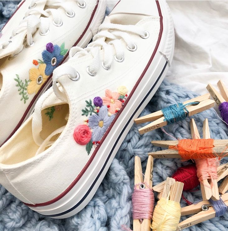 Hand Embroidered Size 5 White Trainers