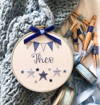 "Personalised Star 6"" Embroidery Hoop"