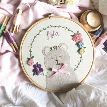Floral Wreath Applique Bear with Crown