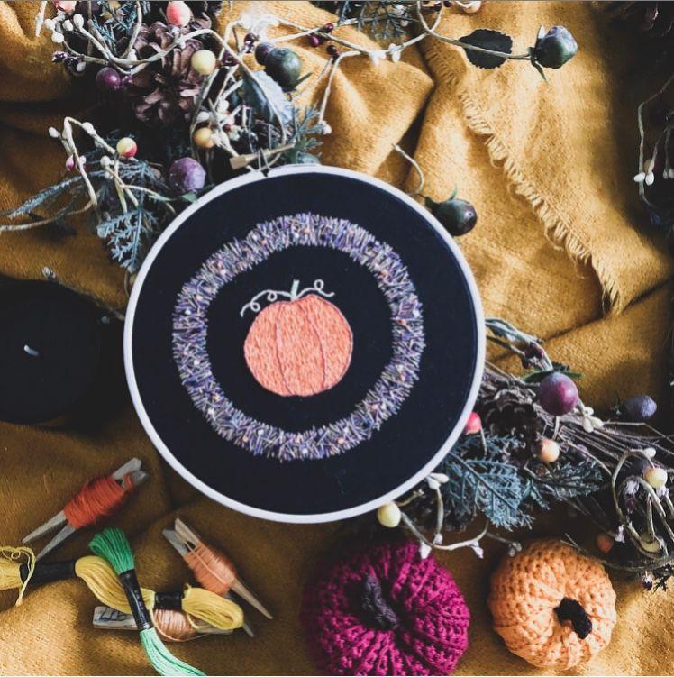 Halloween Pumpkin Embroidery Hoop