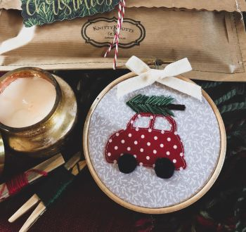 Whimsical Red Christmas Car with Embroidered Christmas Tree