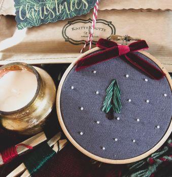 Mini Christmas Tree Embroidery Hoop