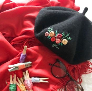Embroidered Black Beret
