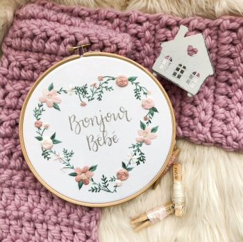 """Full Floral Heart Embroidery Hoop 8"""""""