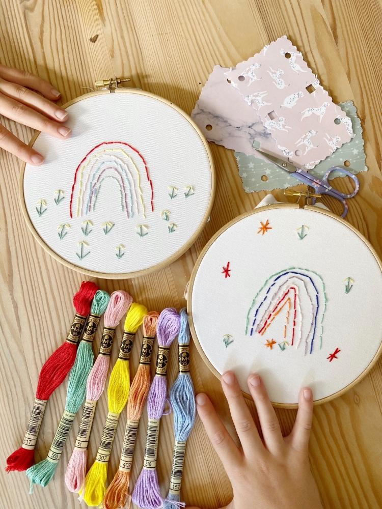 Children's rainbow embroidery hoop kit