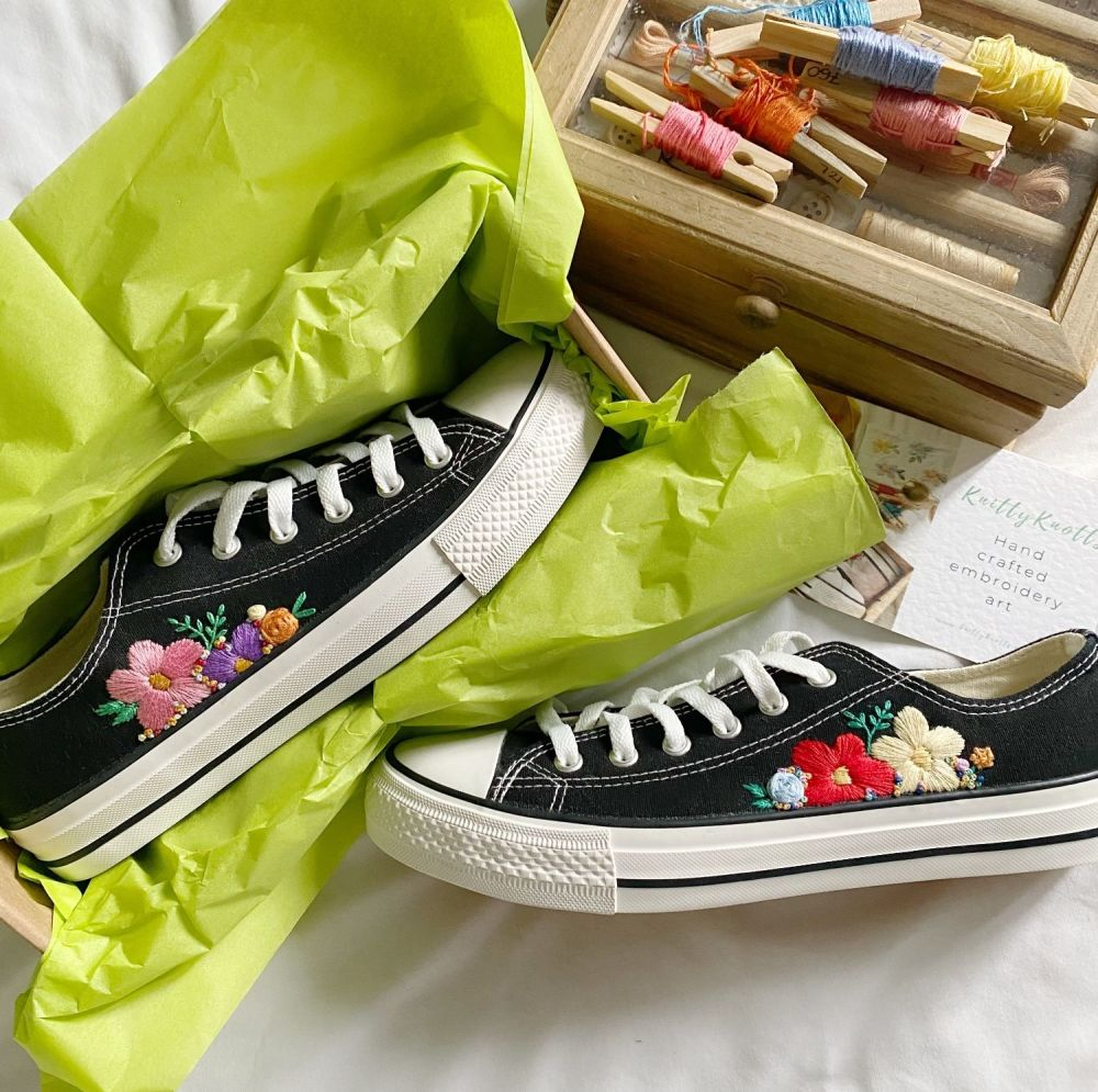 Hand Embroidered Size 6 Black Trainers